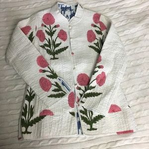 Cotton Floral Quilted Reversible Jacket Size XS